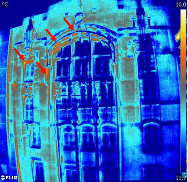 inspection de facade par thermographie (drone) detection de fuite